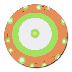 Green and orange design Round Mousepads