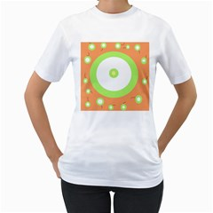 Green and orange design Women s T-Shirt (White) (Two Sided)