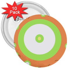 Green and orange design 3  Buttons (10 pack)