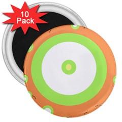 Green and orange design 3  Magnets (10 pack)
