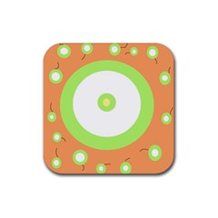 Green and orange design Rubber Square Coaster (4 pack)