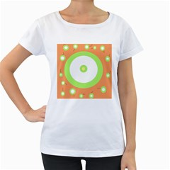 Green and orange design Women s Loose-Fit T-Shirt (White)