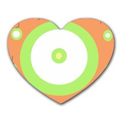 Green and orange design Heart Mousepads