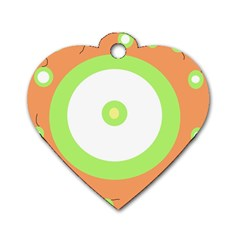 Green and orange design Dog Tag Heart (One Side)