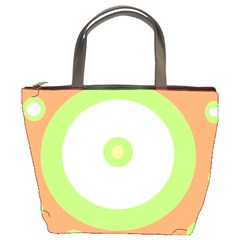Green and orange design Bucket Bags