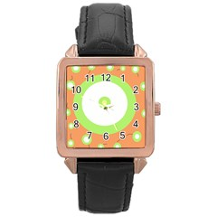 Green and orange design Rose Gold Leather Watch