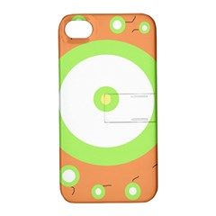 Green and orange design Apple iPhone 4/4S Hardshell Case with Stand