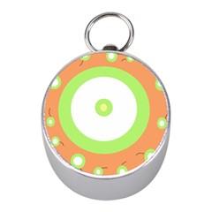 Green and orange design Mini Silver Compasses