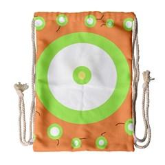 Green and orange design Drawstring Bag (Large)
