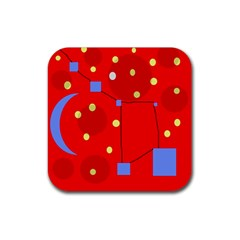 Red sky Rubber Coaster (Square)
