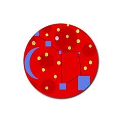 Red sky Rubber Coaster (Round)