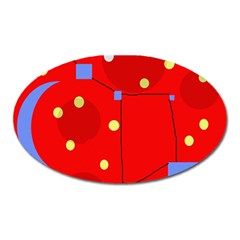 Red Sky Oval Magnet