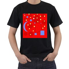 Red sky Men s T-Shirt (Black) (Two Sided)
