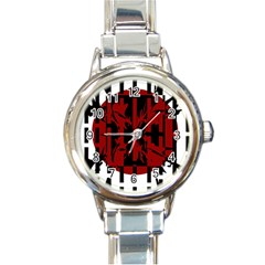 Red, black and white decorative abstraction Round Italian Charm Watch
