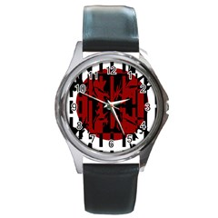 Red, black and white decorative abstraction Round Metal Watch