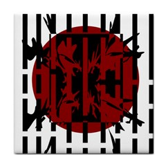 Red, black and white decorative abstraction Tile Coasters