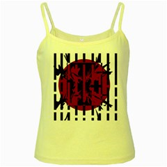 Red, black and white decorative abstraction Yellow Spaghetti Tank