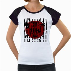 Red, black and white decorative abstraction Women s Cap Sleeve T
