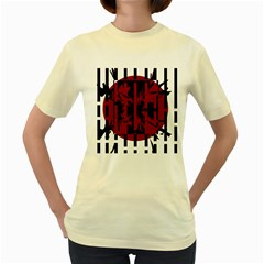 Red, black and white decorative abstraction Women s Yellow T-Shirt