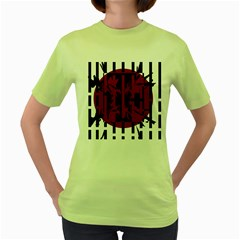 Red, black and white decorative abstraction Women s Green T-Shirt