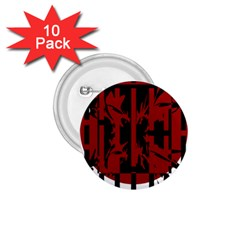 Red, black and white decorative abstraction 1.75  Buttons (10 pack)