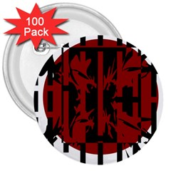 Red, black and white decorative abstraction 3  Buttons (100 pack)