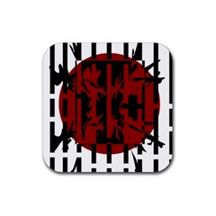 Red, black and white decorative abstraction Rubber Coaster (Square)