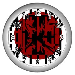 Red, black and white decorative abstraction Wall Clocks (Silver)