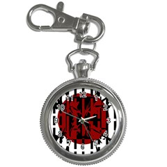 Red, black and white decorative abstraction Key Chain Watches
