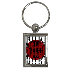Red, black and white decorative abstraction Key Chains (Rectangle)