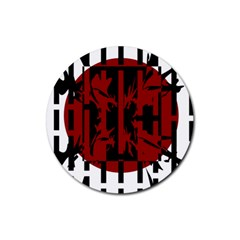Red, black and white decorative abstraction Rubber Coaster (Round)