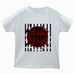 Red, black and white decorative abstraction Kids White T-Shirts