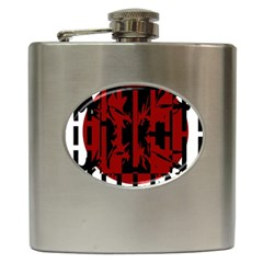 Red, black and white decorative abstraction Hip Flask (6 oz)