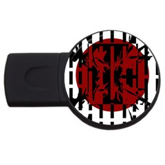 Red, black and white decorative abstraction USB Flash Drive Round (1 GB)