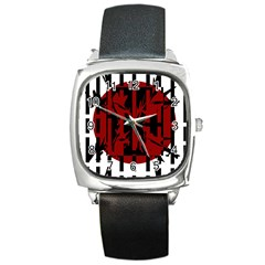 Red, black and white decorative abstraction Square Metal Watch
