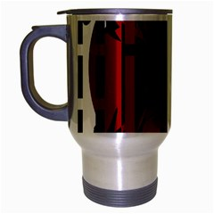 Red, black and white decorative abstraction Travel Mug (Silver Gray)