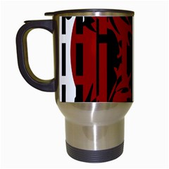 Red, black and white decorative abstraction Travel Mugs (White)