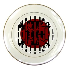 Red, black and white decorative abstraction Porcelain Plates