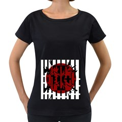 Red, black and white decorative abstraction Women s Loose-Fit T-Shirt (Black)
