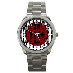 Red, black and white decorative abstraction Sport Metal Watch
