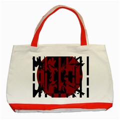 Red, black and white decorative abstraction Classic Tote Bag (Red)