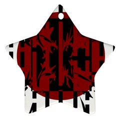 Red, black and white decorative abstraction Star Ornament (Two Sides)