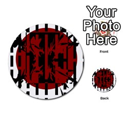 Red, black and white decorative abstraction Multi-purpose Cards (Round)