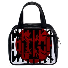 Red, black and white decorative abstraction Classic Handbags (2 Sides)