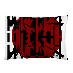 Red, black and white decorative abstraction Pillow Case