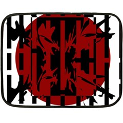 Red, black and white decorative abstraction Double Sided Fleece Blanket (Mini)