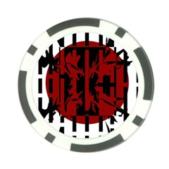 Red, black and white decorative abstraction Poker Chip Card Guards (10 pack)