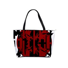 Red, black and white decorative abstraction Shoulder Handbags