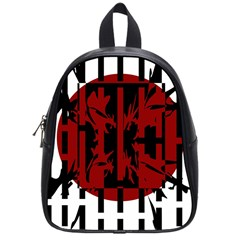 Red, black and white decorative abstraction School Bags (Small)