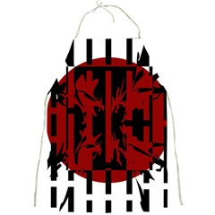 Red, black and white decorative abstraction Full Print Aprons